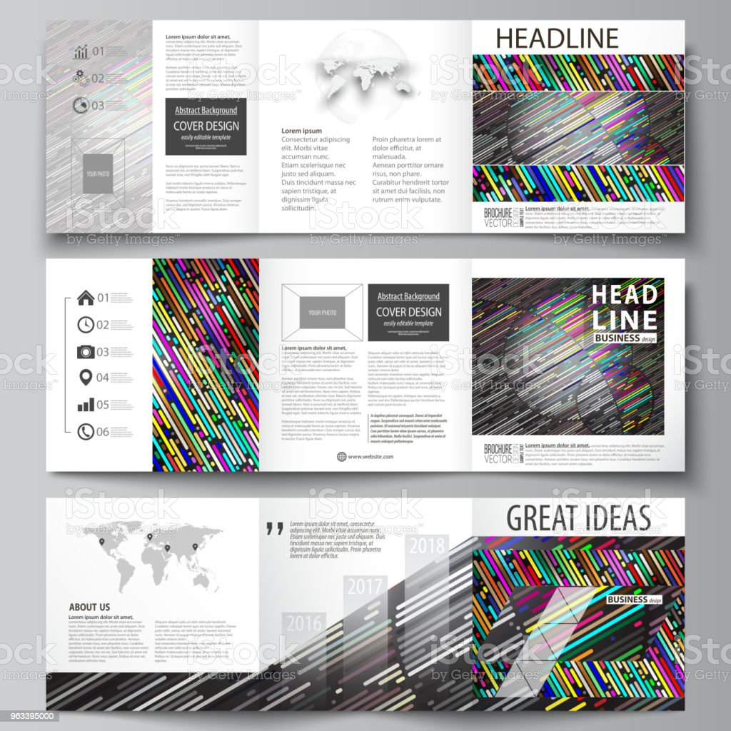 Set of business templates for tri fold square design brochures. Leaflet cover, easy editable vector layout. Colorful background with stripes. Abstract tubes and dots. Glowing multicolored texture - Grafika wektorowa royalty-free (Abstrakcja)
