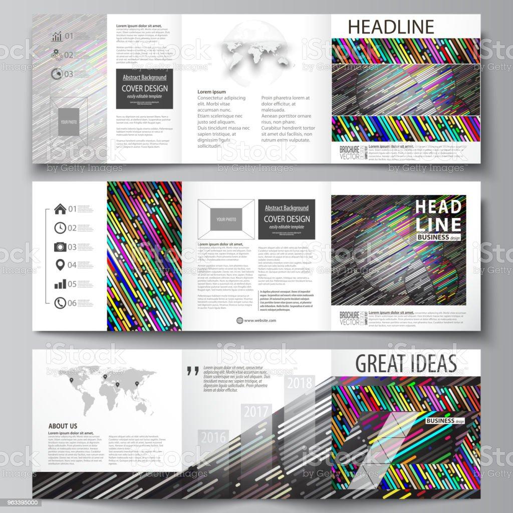 Zestaw szablonów biznesowych do broszur projektowych tri fold square. Okładka ulotki, łatwy do edycji układ wektorowy. Kolorowe tło z paskami. Abstrakcyjne rurki i kropki. Świecąca wielobarwna tekstura - Grafika wektorowa royalty-free (Abstrakcja)