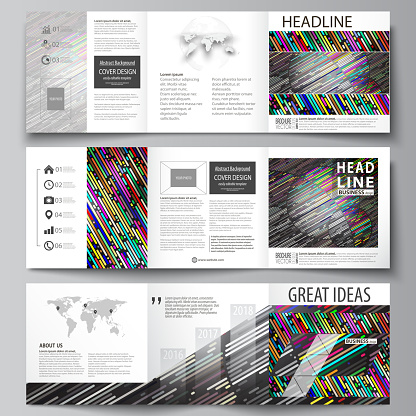 Set Of Business Templates For Tri Fold Square Design Brochures Leaflet Cover Easy Editable Vector Layout Colorful Background With Stripes Abstract Tubes And Dots Glowing Multicolored Texture - Stockowe grafiki wektorowe i więcej obrazów Abstrakcja