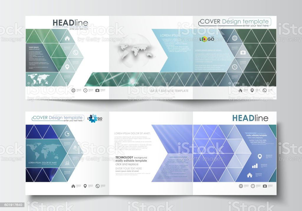 Set Of Business Templates For Trifold Brochures Square Design Stock