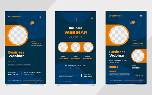 Set of business webinar social media stories post template with geometric background and circle frame