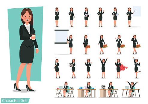 Set of Business woman character design. clipart
