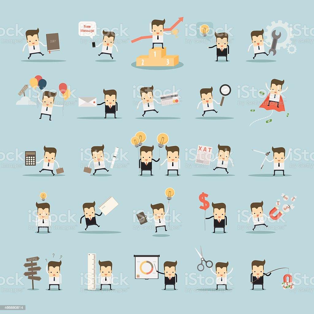 set of businessman activities vector art illustration