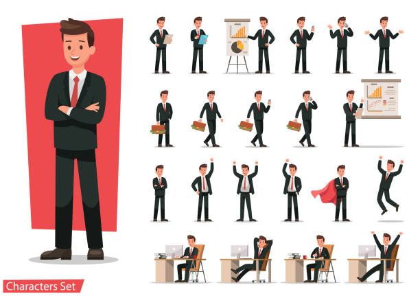 illustrazioni stock, clip art, cartoni animati e icone di tendenza di set of businessman character design. - business man
