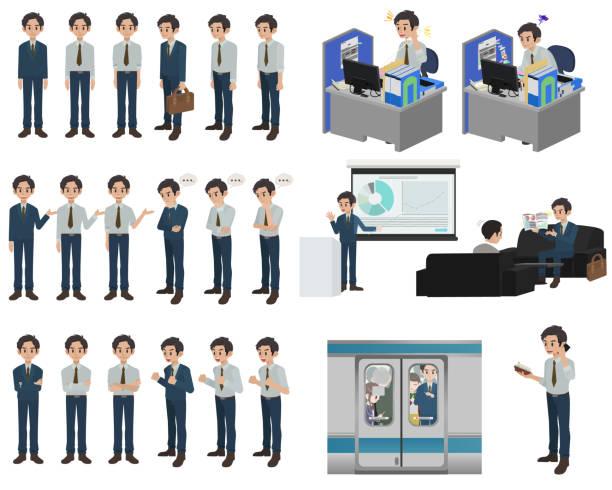 ●白い背景に異なるポージングを持つビジネスマンキャラクターデザインのセット - 通勤点のイラスト素材/クリップアート素材/マンガ素材/アイコン素材