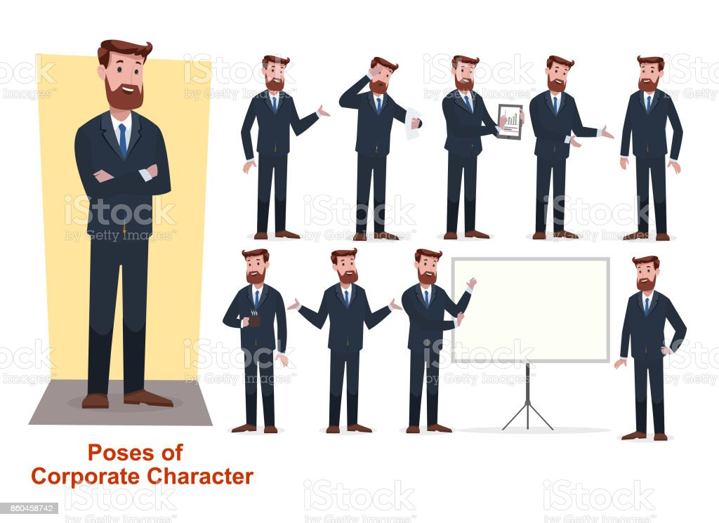 set of businessman character in office working model vector art illustration