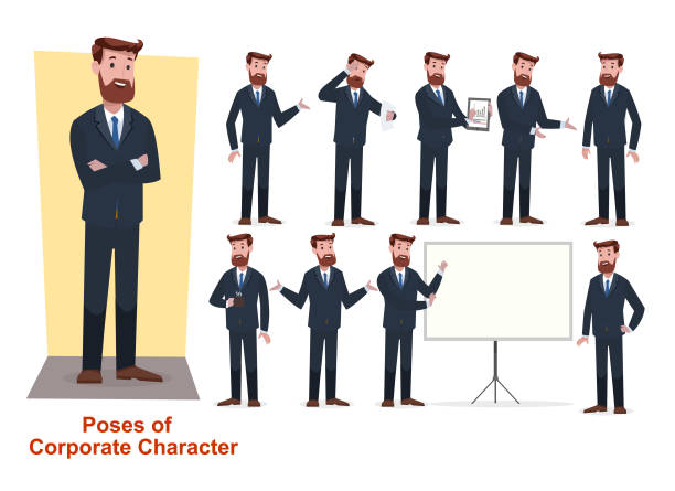illustrazioni stock, clip art, cartoni animati e icone di tendenza di set of businessman character in office working model - business man