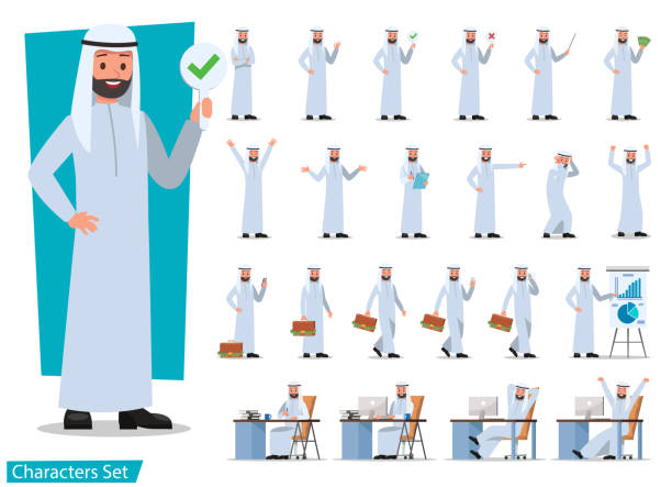 illustrazioni stock, clip art, cartoni animati e icone di tendenza di set of businessman character poses - arabia
