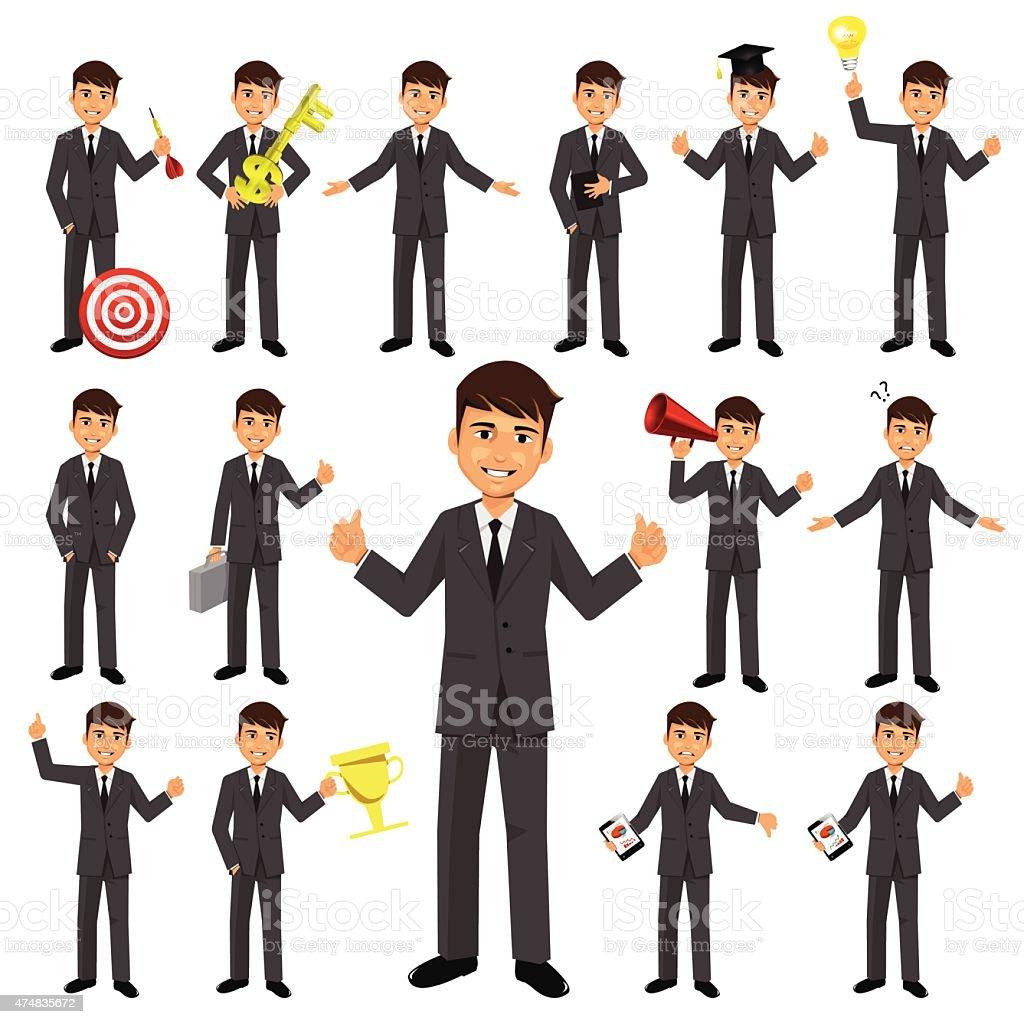 Set of businessman character vector art illustration