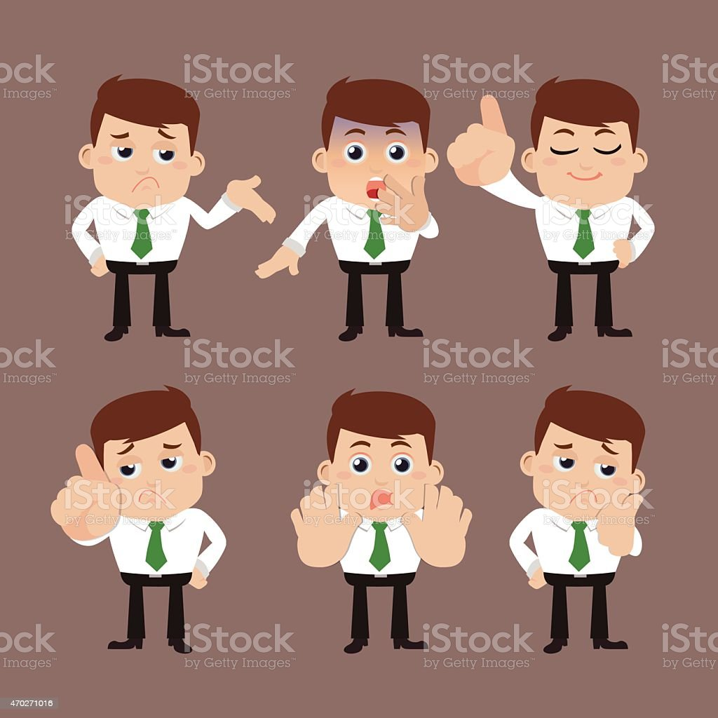 Set of businessman characters in different poses vector art illustration
