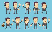 Set of businessman characters poses , eps10 vector format. Flat style. Stock Vector illustration Set