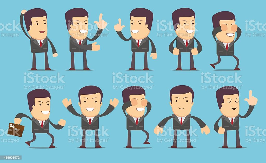 Set of businessman characters vector art illustration