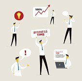 Set of businessman characters. Vector illustration Eps10 file. Success, growth rates. Banners elements advertising