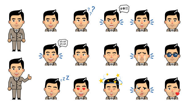 set of businessman emoticons. funny businessman emojis showing different facial expressions. in love, serious, sad, cheerful, dazed, sleepy, angry and other emotions - kiss stock illustrations