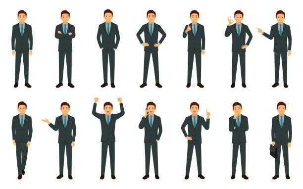 白い背景に孤立したビジネスマンのセット - ビジネスマン 日本人点のイラスト素材/クリップアート素材/マンガ素材/アイコン素材