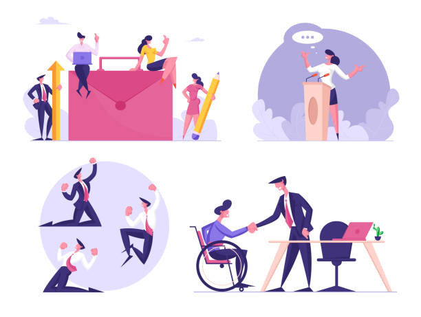 Set of Businessmen and Businesswomen Characters at Huge Briefcase, Woman Speaking on Tribune, Man Yelling Yeah, Gesturing. Disabled Employment, Victory Celebration. Cartoon People Vector Illustration Set of Businessmen and Businesswomen Characters at Huge Briefcase, Woman Speaking on Tribune, Man Yelling Yeah, Gesturing. Disabled Employment, Victory Celebration. Cartoon People Vector Illustration backgrounds clipart stock illustrations