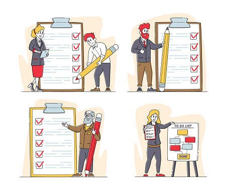 Set of Businesspeople Characters with Checklist Scheduling Planning with Check List. Business People Stand at Clipboard