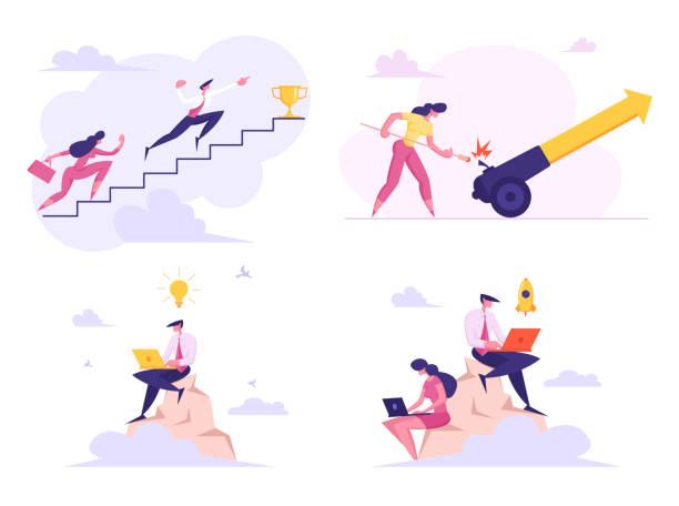 trophy kadehi almak i̇çin üst kata tırmanan i̇şadamları seti, ok la yüklü ateş topu seti, kaya düşünme yaratıcı fikir ve başlangıç projesi karikatür düz vektör i̇llüstrasyon üstüne oturma - mountain top stock illustrations