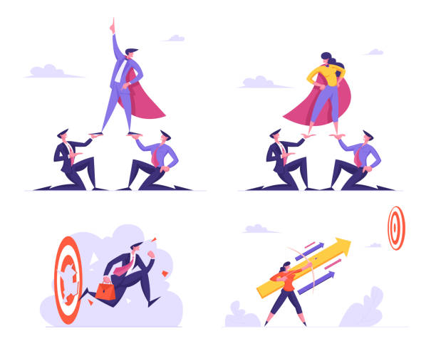 Set of Businesspeople Leadership and Goals Achievement. Business Man and Woman in Super Hero Cloak Stand on Human Pyramid, Break Target, Shooting to Aim Isolated. Cartoon Flat Vector Illustration Set of Businesspeople Leadership and Goals Achievement. Business Man and Woman in Super Hero Cloak Stand on Human Pyramid, Break Target, Shooting to Aim Isolated. Cartoon Flat Vector Illustration human finger stock illustrations