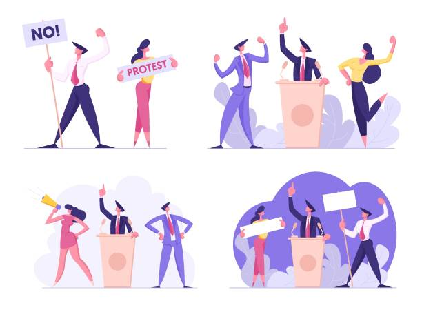 ilustrações de stock, clip art, desenhos animados e ícones de set of businesspeople voting and election, pre-election campaign, promotion and advertising of candidate. citizens debating, holding empty banners political discussion cartoon flat vector illustration - democracy illustration