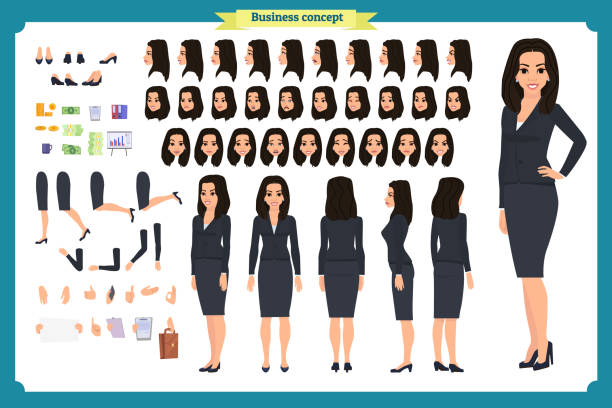 Set of Businesswoman character design.Front, side, back view animated character.Business girl character creation set with various views, poses and gestures.Cartoon style, flat vector isolated.Asian Set of Businesswoman character design.Front, side, back view animated character.Business girl character creation set with various views, poses and gestures.Cartoon style, flat vector isolated.Business Asian asian woman stock illustrations