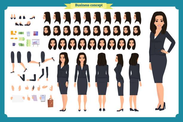 ilustraciones, imágenes clip art, dibujos animados e iconos de stock de conjunto de diseño de personajes de empresaria. frente, lado, vista trasera animado carácter. creación del personaje de la chica negocio con varios puntos de vista, poses y gestos. estilo de dibujos animados, plano vector aislado. asia - asian woman