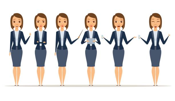 Set of businesswoman poses vector art illustration