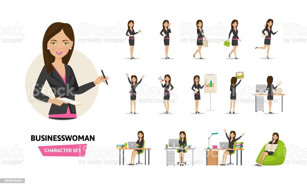 Set of businesswoman working character in office work situations