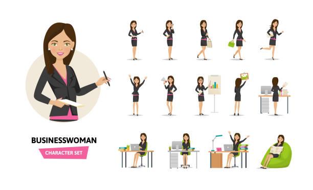 ilustraciones, imágenes clip art, dibujos animados e iconos de stock de conjunto de caracteres de trabajo empresaria en situaciones de trabajo de oficina - ejecutiva