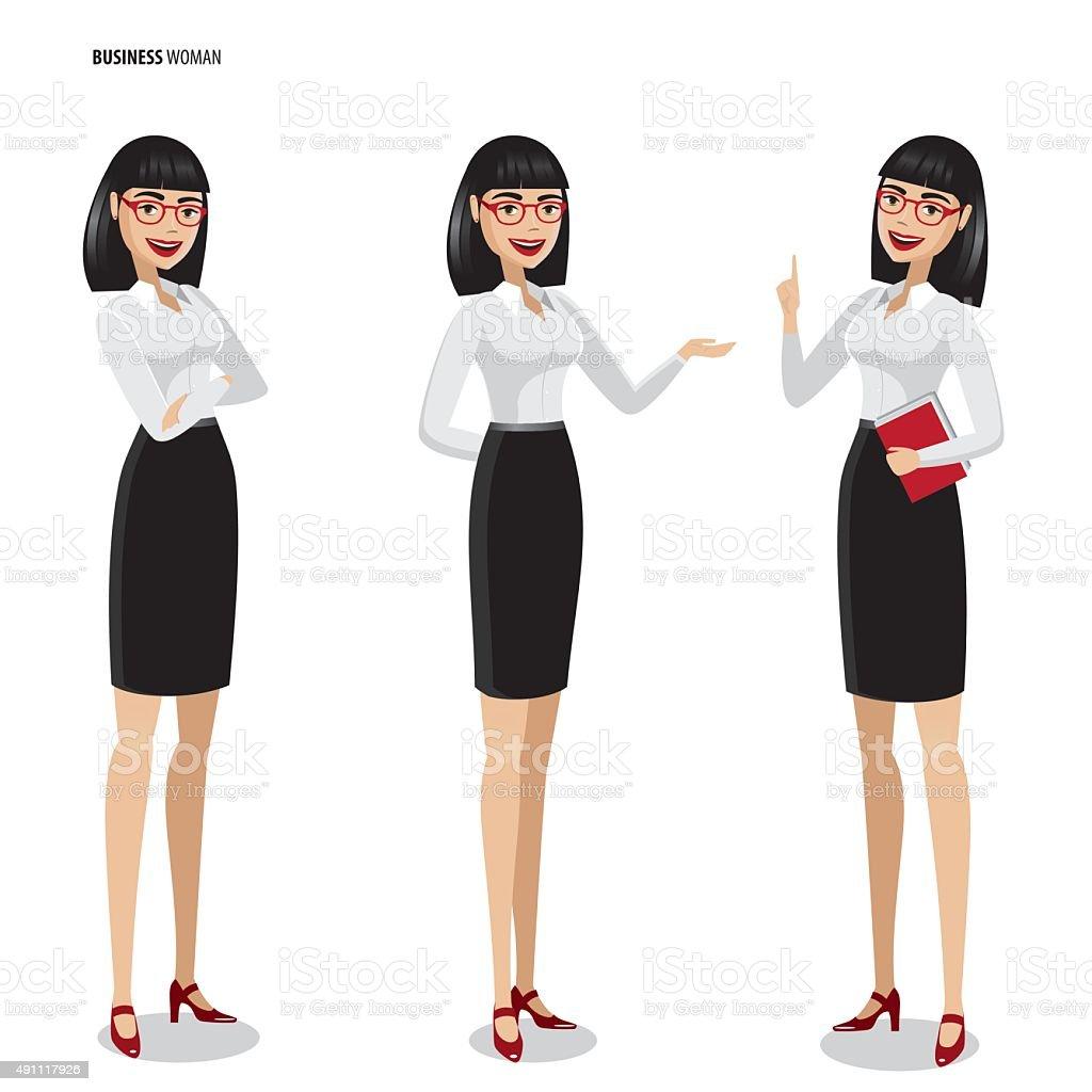 Set of businesswomen on white background vector art illustration