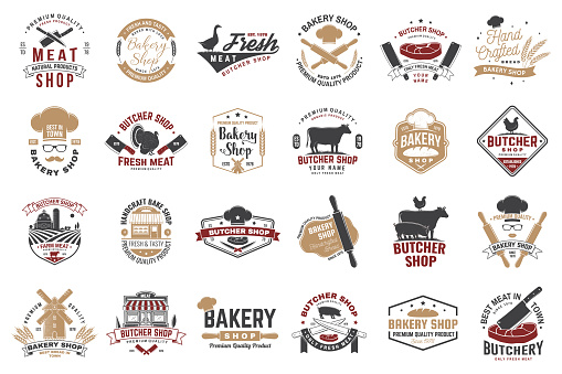 Set of butcher shop and Bakery shop badge, label. Vector. Vintage design with cow, chicken, rolling pin, dough, silhouette. For restaurant identity objects, packaging, menu