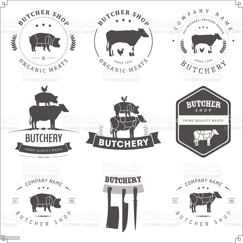 Set of butcher shop labels and design elements royalty-free stock vector art