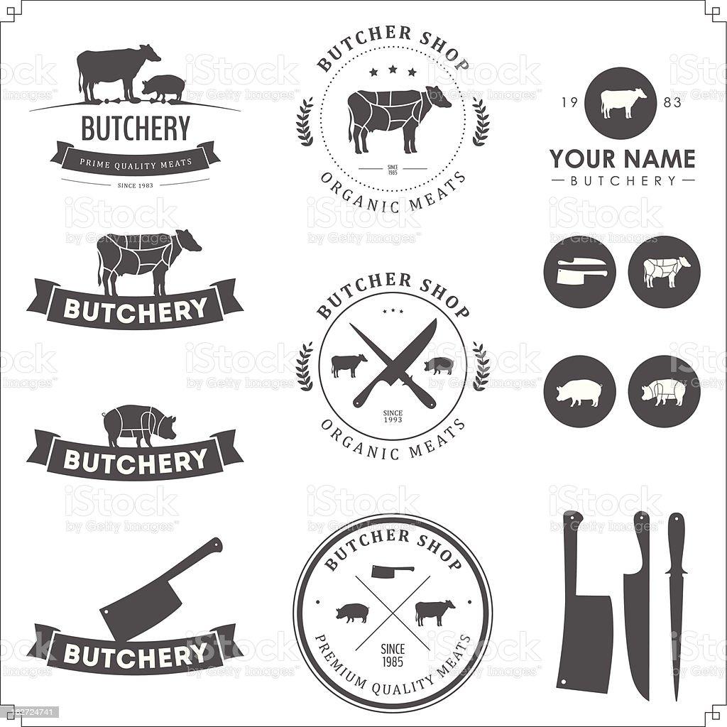 Set of butcher shop labels and design elements royalty-free set of butcher shop labels and design elements stock vector art & more images of animal