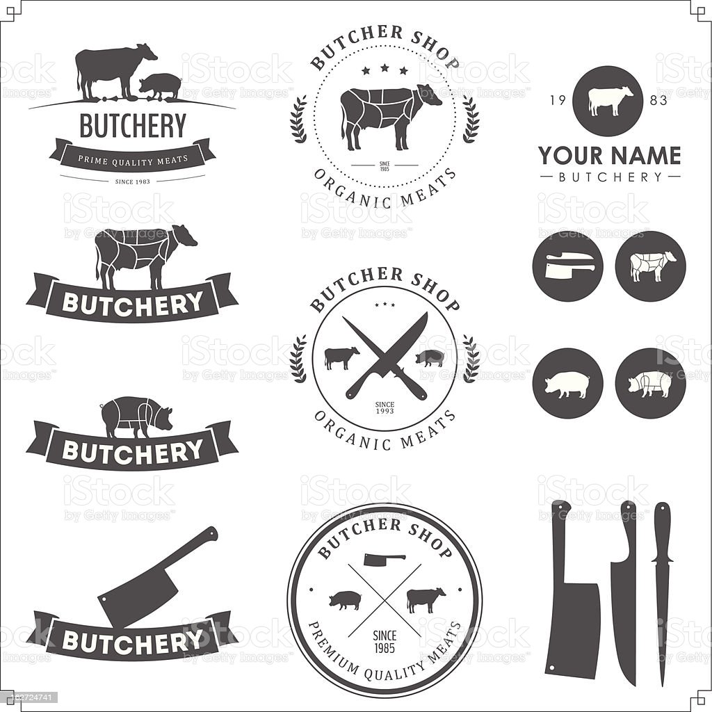 Conjunto de carnicero tienda etiquetas y elementos de diseño - ilustración de arte vectorial