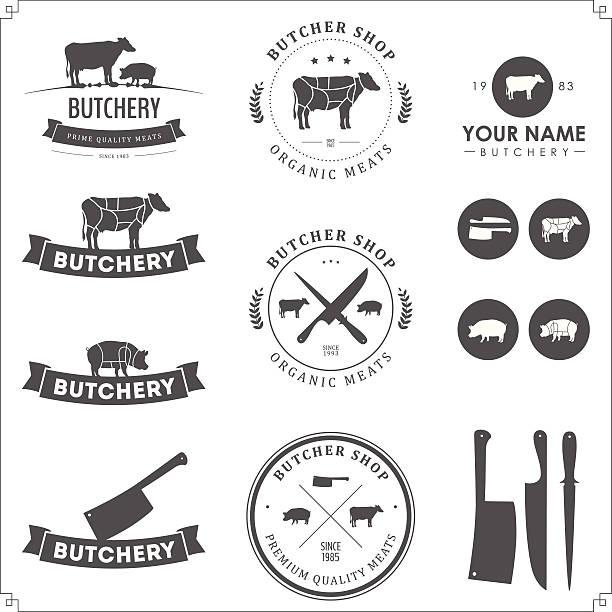Set of butcher shop labels and design elements vector art illustration
