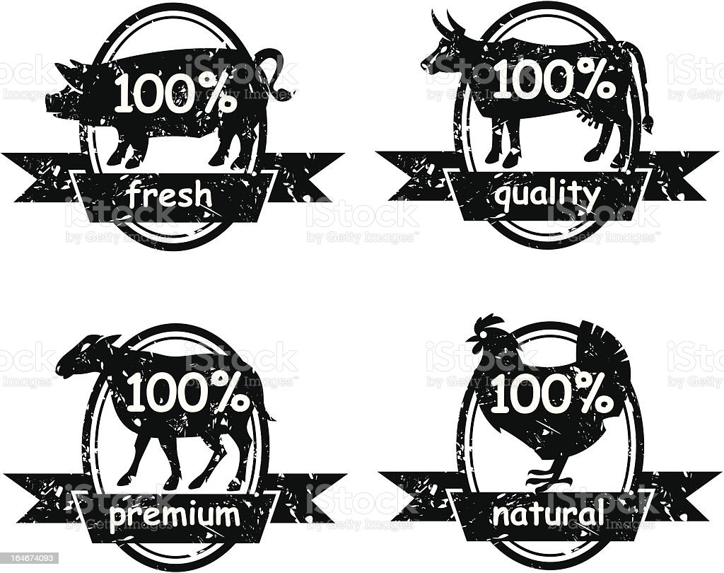 set of butcher shop labels royalty-free stock vector art