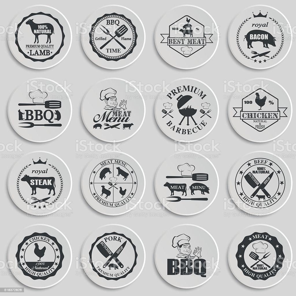 Set of butcher shop labels vector art illustration