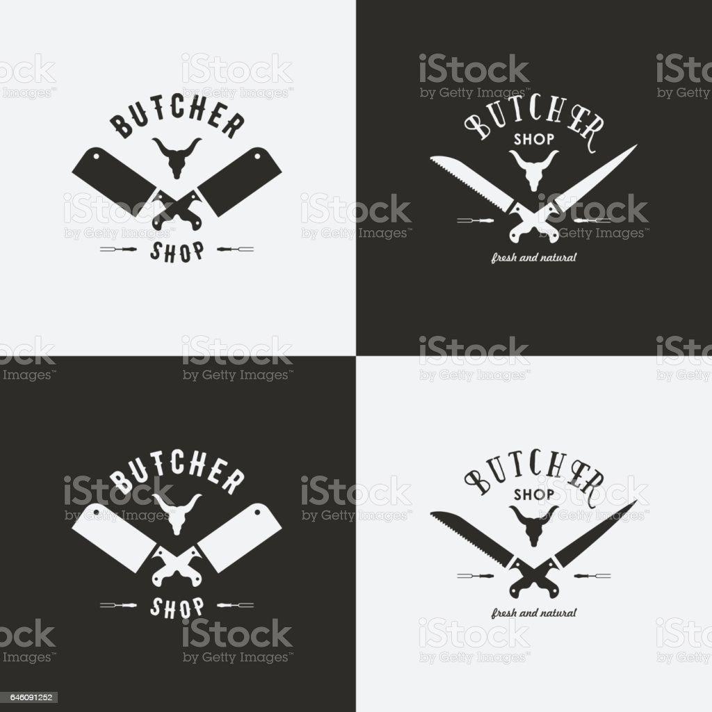 Ensemble de modèles de logo de boucherie - Illustration vectorielle