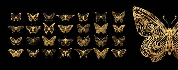 Juego de mariposas, siluetas. - ilustración de arte vectorial