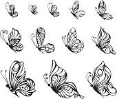 Twelve ornate butterflies for your design isolated on white background. EPS 8.