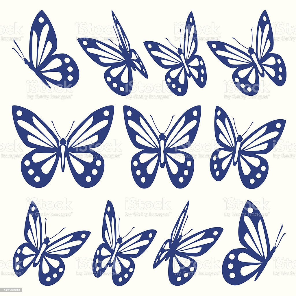 Set of butterflies vector art illustration