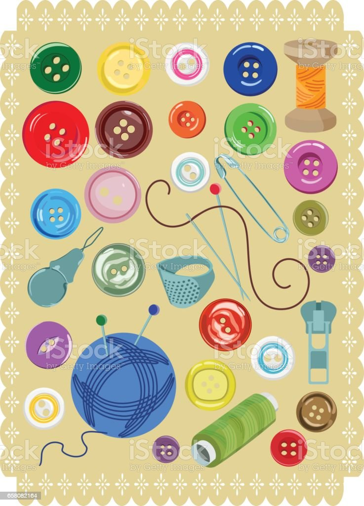 A set of buttons and sewing supplies. Vector illustration royalty-free a set of buttons and sewing supplies vector illustration stock vector art & more images of art and craft equipment
