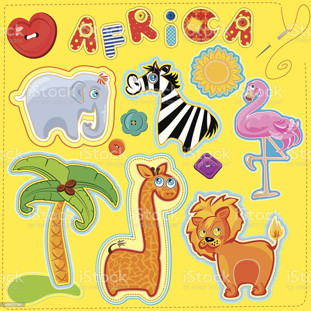 Set of buttons, cartoon animals and word AFRICA for chilfren royalty-free stock vector art