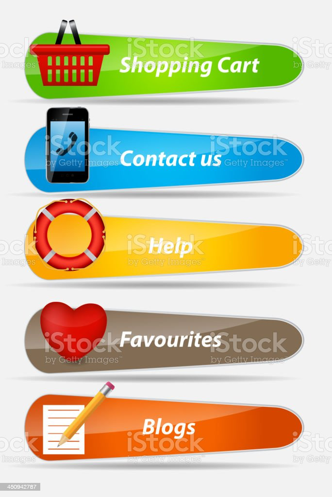 Set of Buttons with icons vector illustration royalty-free stock vector art