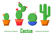 istock Set of cacti in pots. Long, round, oval, flowering and not, with spines and dots of cacti. Cactus home plant in flat illustration 1310440210