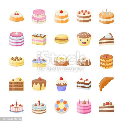 This pack of Cake flat vector icons looks delicious in the packing, menu or walls of your bakery. Do you want a piece of cake? Enjoy four hand made excellent desserts.