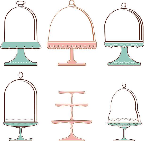 Set of Cake Stands Set of elegant cake stands. Design elements. Vector. EPS 8. cakestand stock illustrations