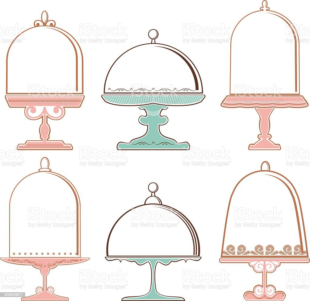 Set of Cake Stands vector art illustration