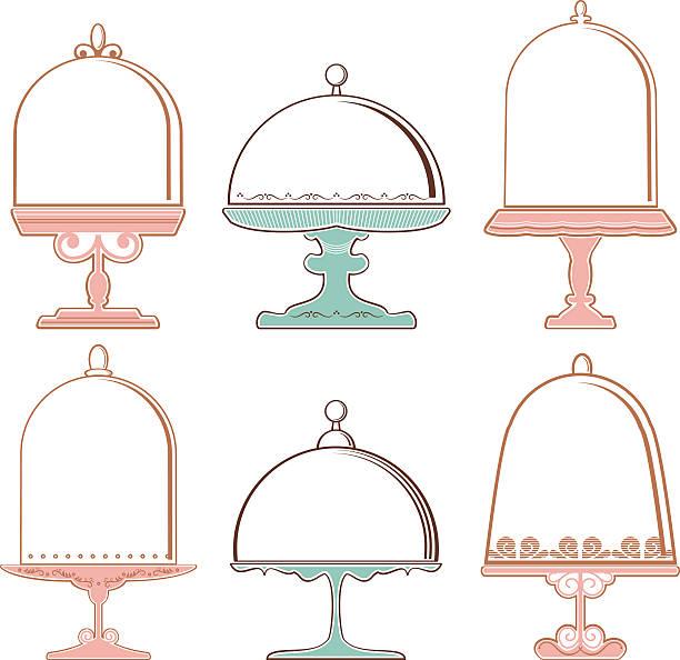 Set of Cake Stands vector art illustration