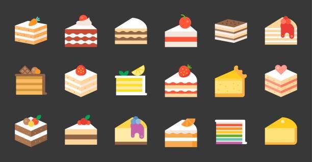 set of cake, tiramisu, cheese cake, red velvet, orange, carrot, chocolate, mocha, crepe and rainbow cake, layer cake, flat icon - cake stock illustrations